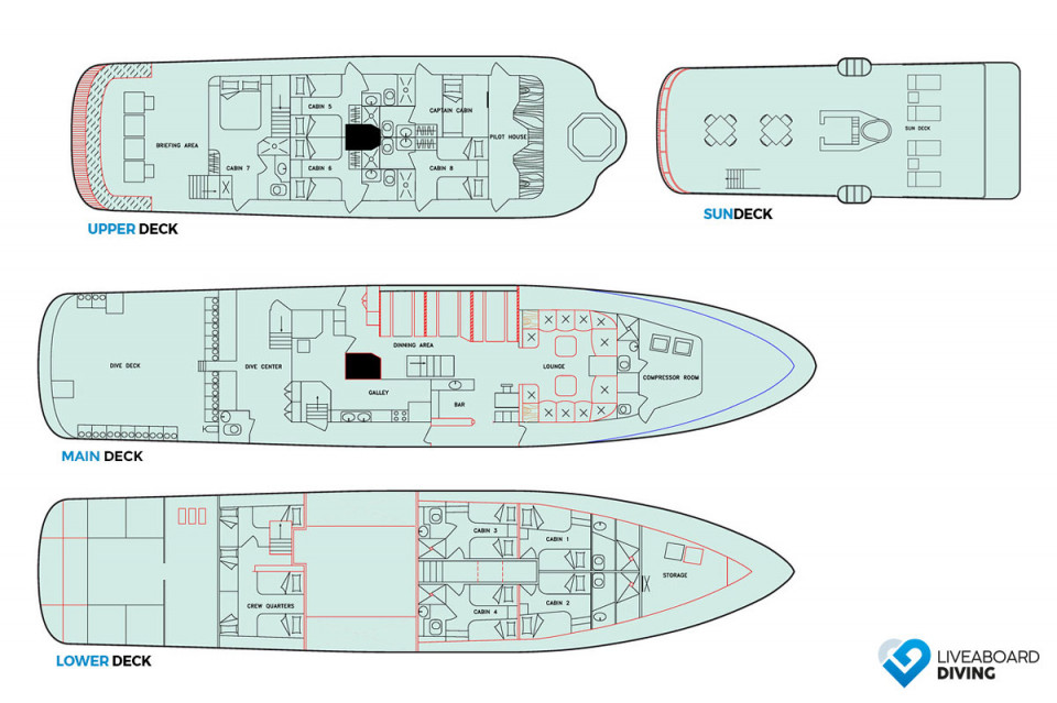 Galapagos Aggressor III Deck Plan