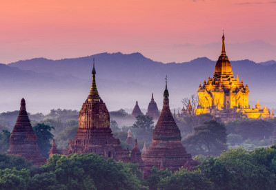 Myanmar temple at sunset